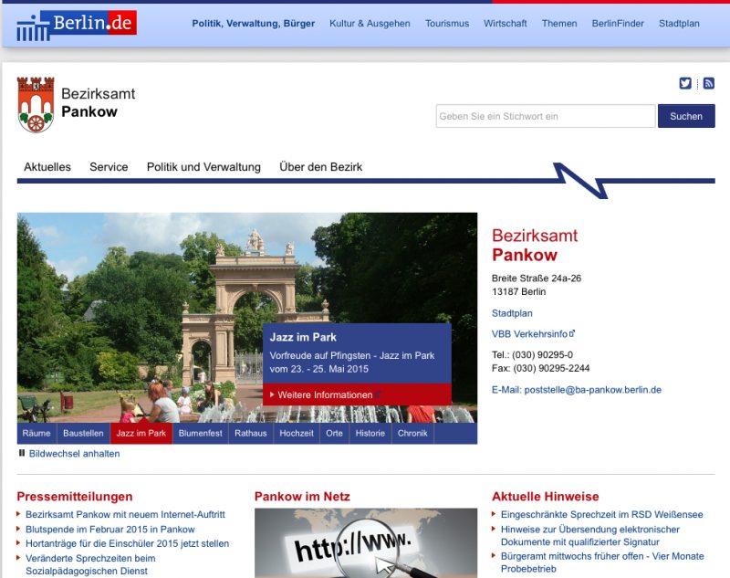 Screenshot der neuen Homepage des Bezirksamts